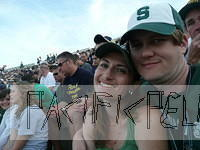 Jessica and Dan in the bleachers of MSU at ND 2009
